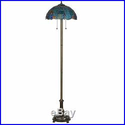Tiffany Style Handcrafted Blue Vintage Floor Lamp 18 Shade