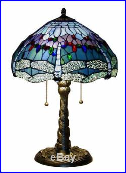 Tiffany Style Handcrafted Stained Glass Blue Dragonfly Table Lamp 14 Shade