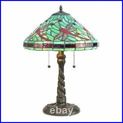 Tiffany Style Handcrafted Stained Glass Turquoise Dragonfly Table Lamp 14 Shade