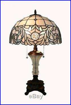 Tiffany Style Handcrafted White Table Lamp 16 Shade