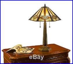 Tiffany Style Hex Mission Table and Floor Lamp Set 14 and 16 2 light Shades