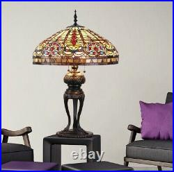 Tiffany Style Lamp Stained Glass Accent Emperor Table Lamp
