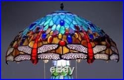 Tiffany Style Lamp Stained Glass Table & Desk Dragonfly Accent Lighted Base New