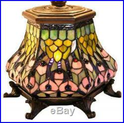 Tiffany Style Lantern Table / Desk Reading Lamp Yellow Peacock Stained Glass