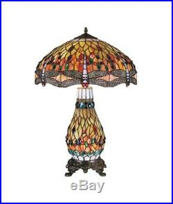 Tiffany Style Large Dragonfly Stained Glass Dual Table Lamp (Height 70CM)