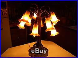 Tiffany Style Lilly Pad Lamp Table Lamp-Blown Glass 12 Shades 1930'S MARKED 21'