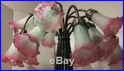 Tiffany Style Lily Pad Pond Lamp 15 Light Stained Art Glass Lily Shades