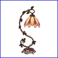 Tiffany Style Lotus Flower Design 20.75 Arched Table Lamp Stained Glass Pink