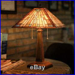 Tiffany-Style Mission 2-Light Table Lamp with 16 Stained Glass Lampshade Bedroom