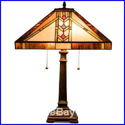 Tiffany-Style Mission 2-Light Table Lamp with16 Stained Glass Lampshade Bedroom