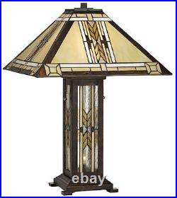 Tiffany Style Nightlight Table Lamp Mission Bronze Stained Glass for Living Room