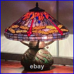 Tiffany Style Red Dragonfly Stained Glass Table Reading Lamp Purple and Orange