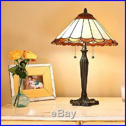 Tiffany Style Scallop Table Lamp Handcrafted 16 Shade