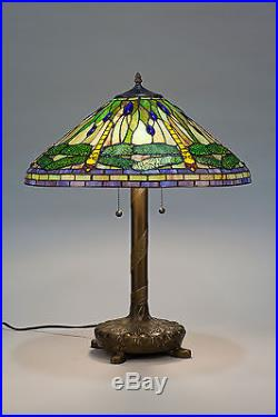 Tiffany Style Stained Cut Glass Green Dragonfly Table Lamp 20 Shade