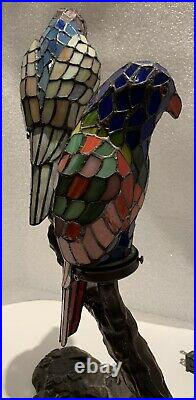 Tiffany Style Stained Glass 2 Parrots Table Lamp Desk Light Night Stands Vintage