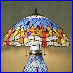 Tiffany Style Stained Glass Dragonfly Accent Reading Table Lamp with Lighted Base