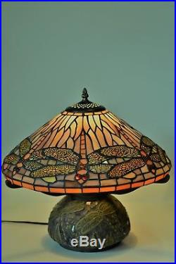 Tiffany Style Stained Glass Dragonfly Table Lamp with Mosaic Base 16H x 16W