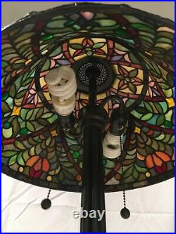 Tiffany Style Stained Glass Lamp Shade And Base Table Lamp