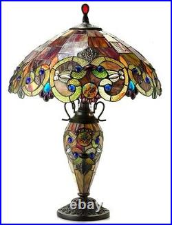 Tiffany Style Stained Glass Lighted Base Handcrafted Table Lamp 18 Shade 26 H