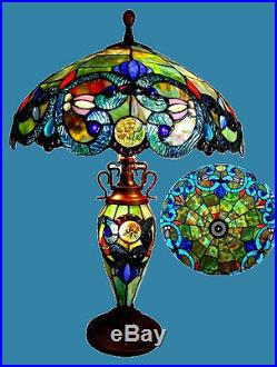 Tiffany Style Stained Glass Lighted Base Table Lamp 18 Shade Handcrafted 26