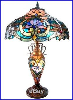 Tiffany Style Stained Glass Lighted Base Victorian Table Lamp Handcrafted 24.5