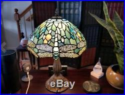 Tiffany Style Stained Glass Table Lamp Dragonfly 18 Blue Jeweled Vintage Look