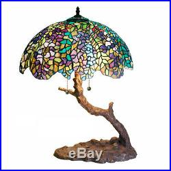 Tiffany Style Stained Glass Table Lamp Leaning Tree Design 23 High Handcrafted