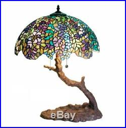 Tiffany Style Stained Glass Table Lamp Light Tree Base Desk Home Accent Lighting