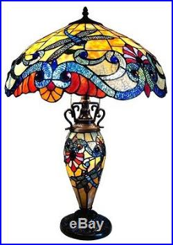 Tiffany Style Stained Glass Table Lamp Lighted Base BEAUTIFUL! Dragonfly Design