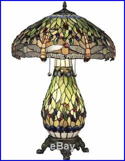 Tiffany Style Stained Glass Table Lamp Yellow Dragonfly Desk Lamps Accent Light