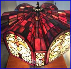 Tiffany Style Stained Glass Table Lamp with Unique Shade 3 Light / 28 Tall