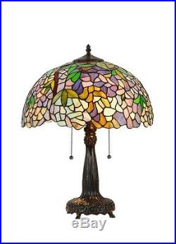 Tiffany Style Stained Glass Wisteria Multi-Color Table Desk Lamp 22 Tall