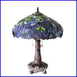 Tiffany Style Stained Glass Wisteria Multi-Color Table Lamp 16 Shade 22 Tall