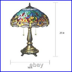 Tiffany Style Stained Glass Yellow Dragonfly Accent Reading Table Lamp