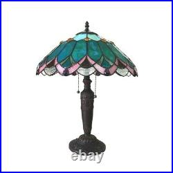 Tiffany Style Table Desk Lamp 21 Tall Green Stained Glass 16 Shade DEMETER