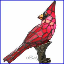 Tiffany Style Table Desk Lamp Cardinal Accent Glass Bird Red Vintage Decor New