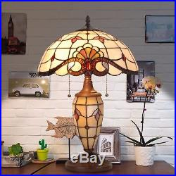 Tiffany Style Table Desk Lamp Victorian Double Lit Glass Home Decor Lighting