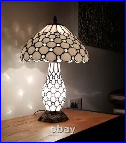 Tiffany Style Table Lamp 12 inch with Dual Bulb with White and Black Finish