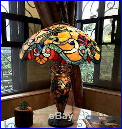 Tiffany Style Table Lamp 2 Lite Lit Base Blue Dragonfly Amber Red Stained Glass