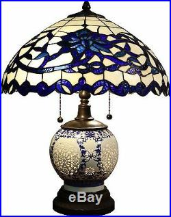 Tiffany Style Table Lamp 3-light Stained Blue Glass 21-inch Double-lite New