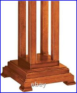 Tiffany Style Table Lamp Art Deco Wood Stained Glass for Living Room Bedroom
