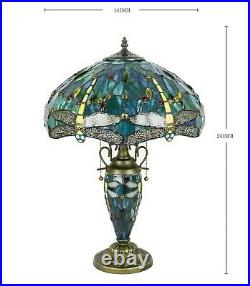 Tiffany Style Table Lamp Dragonfly Green Blue Stained Glass Antique Vintage H24