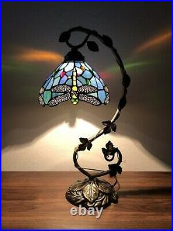 Tiffany Style Table Lamp Dragonfly Sky Blue Stained Glass Antique Vintage 20.5H