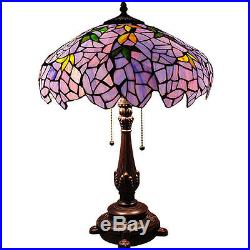 Tiffany Style Table Lamp Flower/ Vines Stained Glass Blue Gold Green Shade 24 H