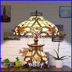 Tiffany Style Table Lamp Jeweled Desk Lamp Floral Stained Glass Home Decor Light
