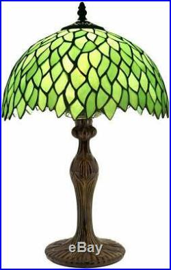 Tiffany Style Table Lamp Light Green Wisteria Stained Glass Lampshade 18 Inch