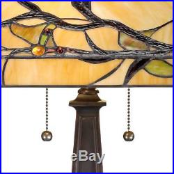 Tiffany Style Table Lamp Mission Bronze Tree Branch Glass Living Room Bedroom