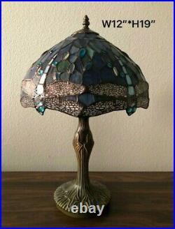 Tiffany Style Table Lamp Sea Blue Stained Glass Dragonfly Antique Vintage H19
