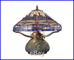 Tiffany Style Table Lamp Stained Glass Desk Art Deco Mission Craftsman Dragonfly