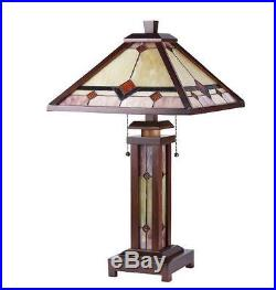 Tiffany Style Table Lamp Stained Glass Desk Art Mission Craftsman Double Lit